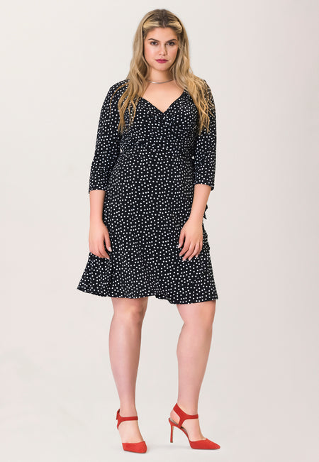 Sweetheart Wrap Dress in Marshmallow Confetti Dot (Curve)