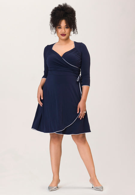 Sweetheart Wrap A-Line Dress in Navy Piped Classics Blue (Curve)