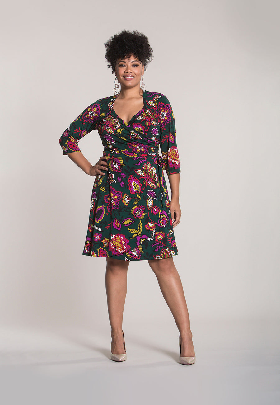Sweetheart Wrap Dress in Tapestry (Curve)