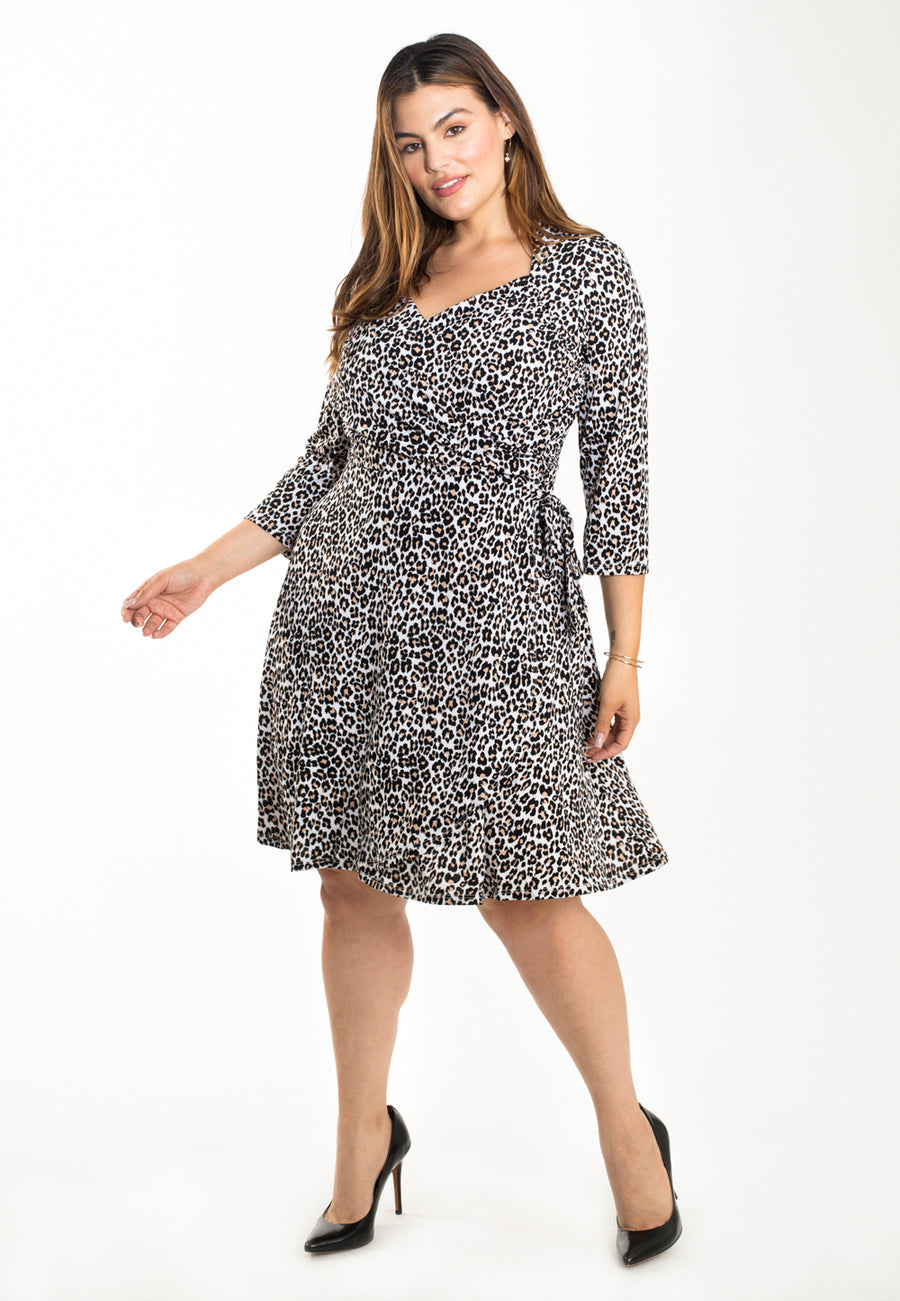 Sweetheart Wrap Dress in Cheetah Ginger Root