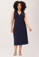 Justine Sleeveless Wrap in Navy Piped Classics (Curve)