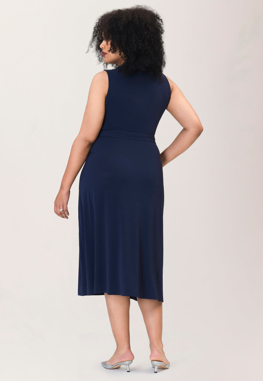 Justine Sleeveless Wrap  Dress in Navy Piped Classics Blue (Curve)