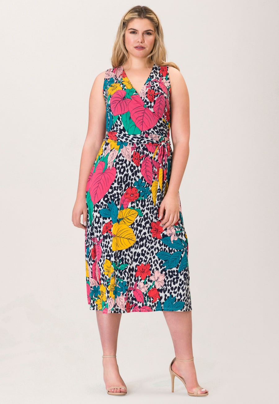 Justine Sleeveless Wrap  Dress in Wild Tropics Pink (Curve)