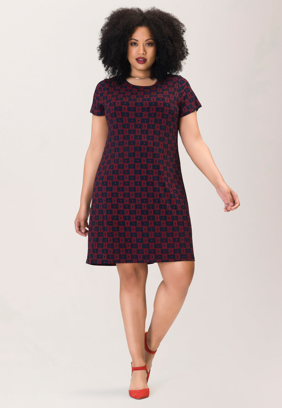 T-shirt  Sheath Dress in Sailor Knot Goji Berry Blue (Curve)