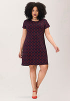T-shirt Dress in Sailor Knot Goji Berry Blue (Curve)