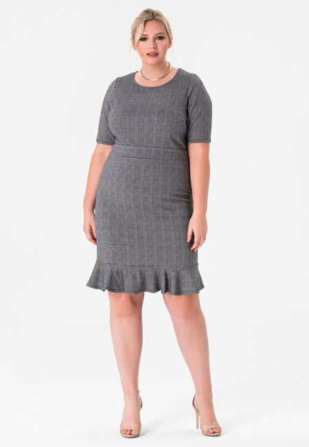 Gia Flounce Hem Fitted Dress in Glen Plaid Black Grey (Curve)