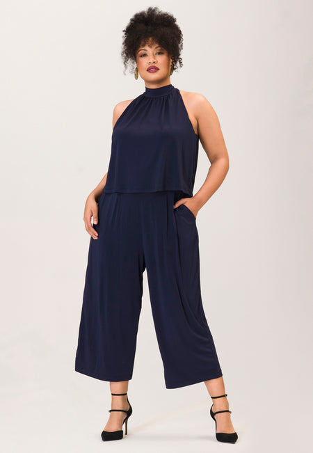 Skyler Cropped Jumpsuit  in Classic Navy Essential Jersey Blue (Curve)
