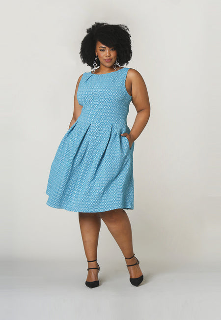 Anita A-Line Dress in Belissimo Jacquard Blue (Curve)