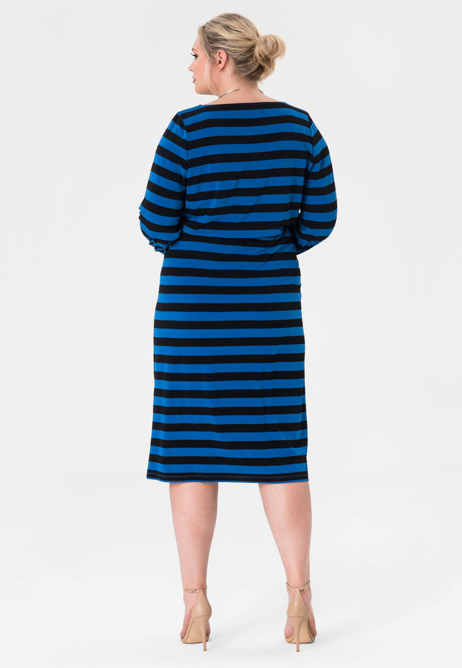 Tiana Pieced  Midi Dress in Bold Strip Blue (Curve)