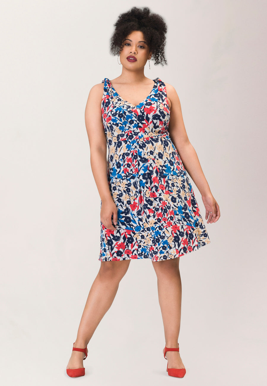 Bria Tie Shoulder A-Line Dress in Patchwork Blue (Curve)
