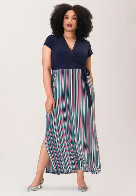 Cap Sleeve Perfect Wrap Maxi in Multi Stripe Camellia Rose (Curve)