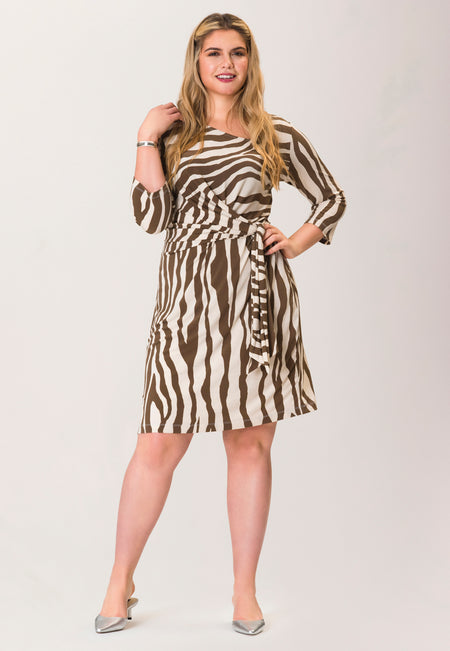 Celeste Body Conscious Dress in Zebra Stripe Brown (Curve)
