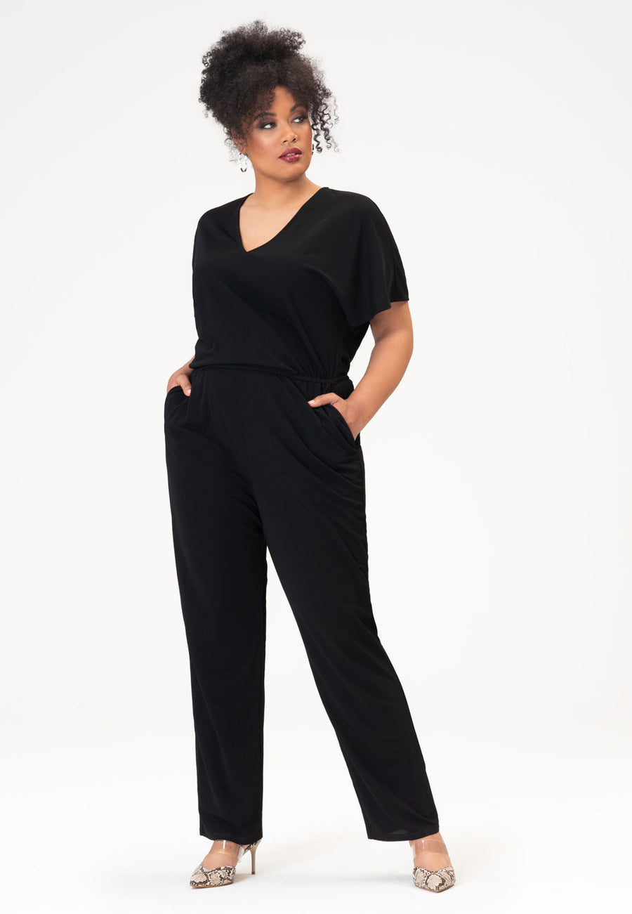Michaela Jumpsuit in Moss Crepe Black (Curve)