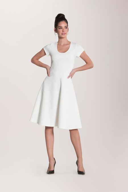 Cap Sleeve Circle  A-Line Dress in Tonal Chevron White