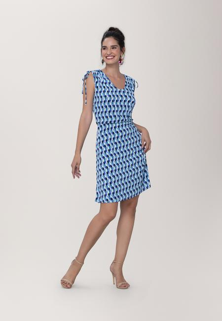 Tara A-Line Dress in Mod Geo Blue