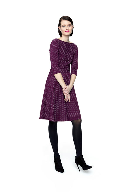 Circle Dress with Bracelet Sleeve in Aubergine Luxe Jacquard