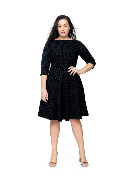 Bracelet Sleeve A-Line Dress in Black Luxe Jacquard (Curve)