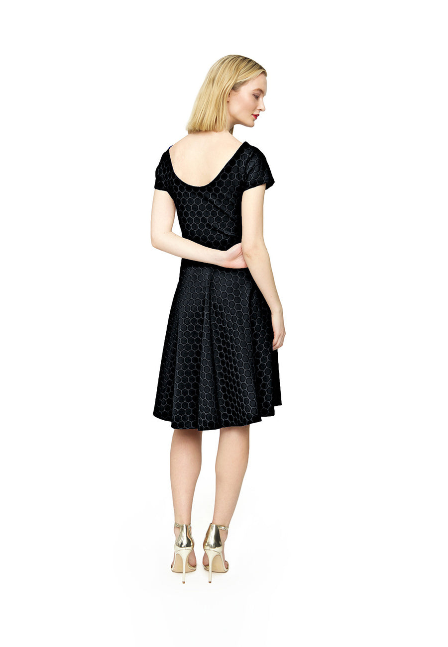 Cap Sleeve Circle  A-Line Dress in Black Luxe Jacquard