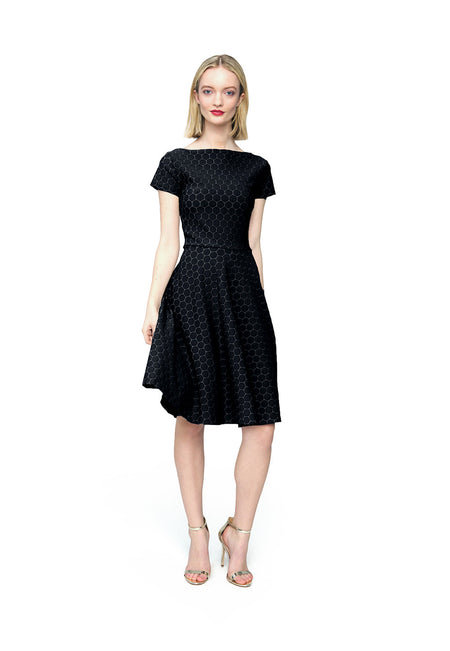 Cap Sleeve Circle Dress in Black Luxe Jacquard