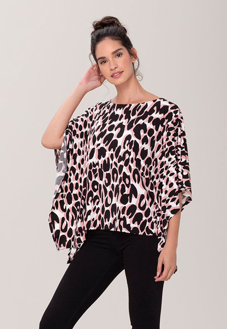 Kimono Caftan Top  in Painted Leopard Rose Pink