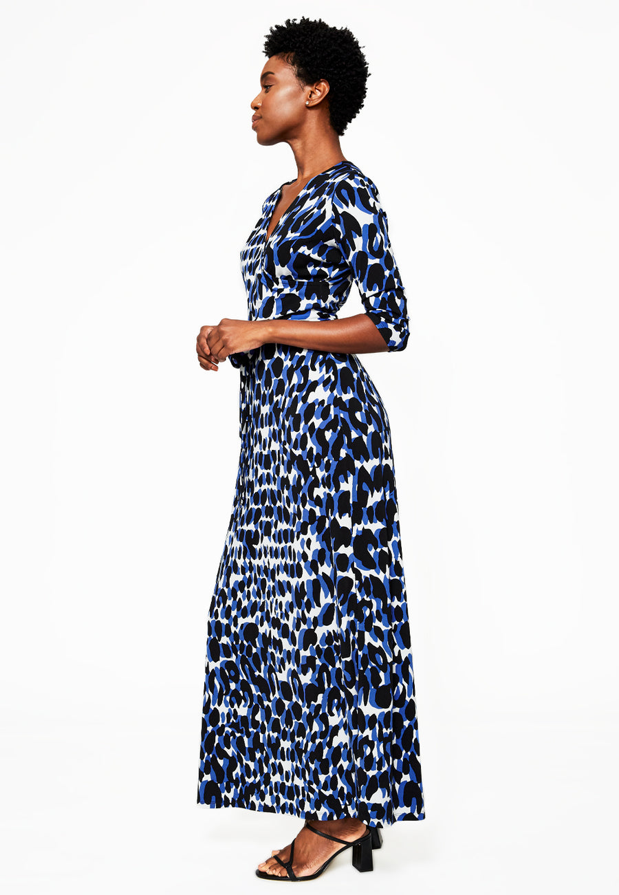 Perfect Wrap Maxi Dress in Painterly Leopard