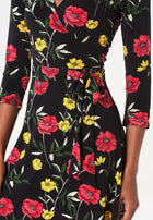 Perfect Wrap Dress in Poppy Black
