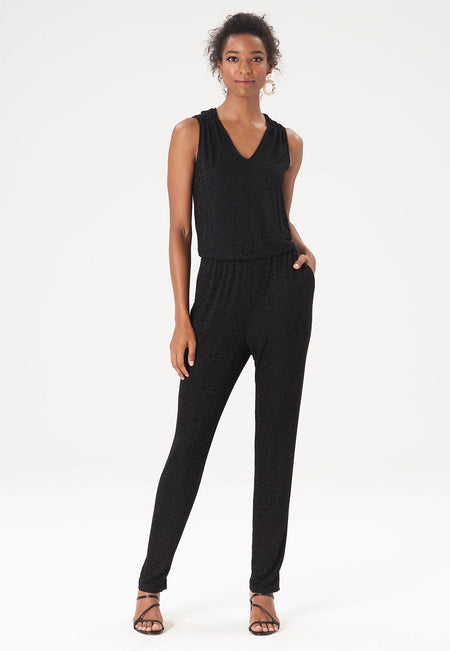 Kennedy Jumpsuit in Tonal Cheetah Black