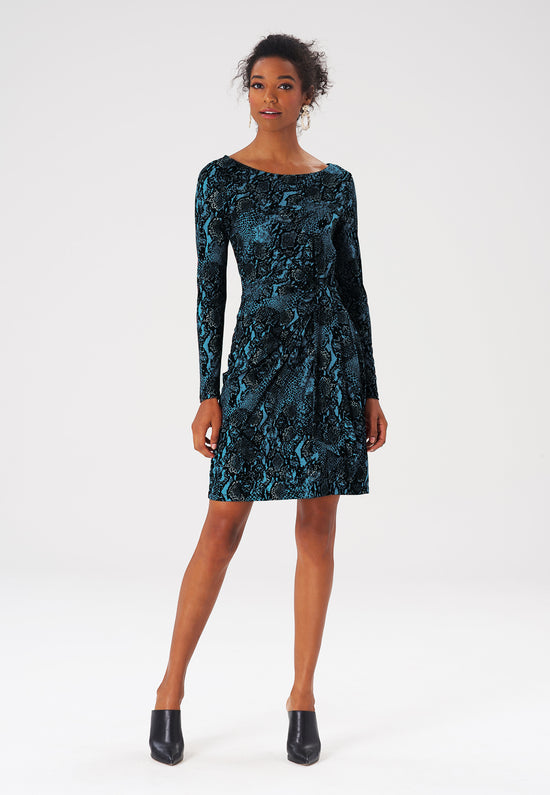Reese Dress in Snake Teal