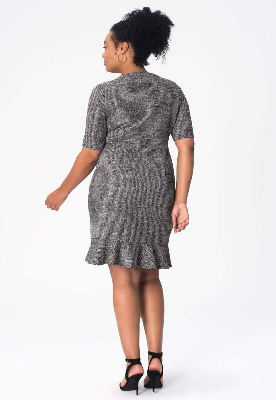 Gia Dress in Rainbow Bouclé Multi (Curve)
