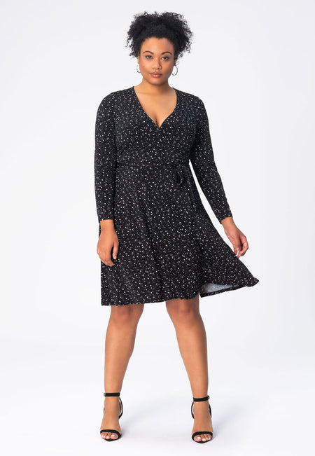 Long Sleeve Perfect Wrap Dress in Starry Night Black (Curve)