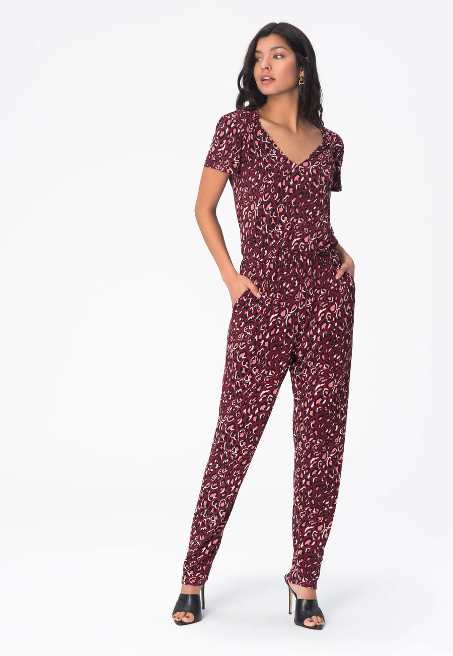 Kennedy Cap Sleeve Jumpsuit in Bold Cheetah Cabernet