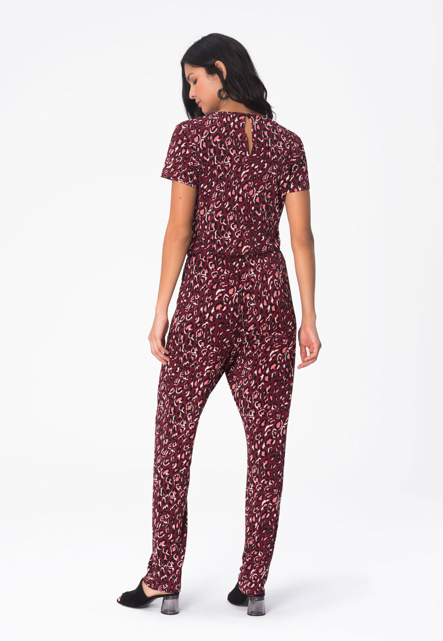 Kennedy Cap Sleeve Jumpsuit in Bold Cheetah Cabaret
