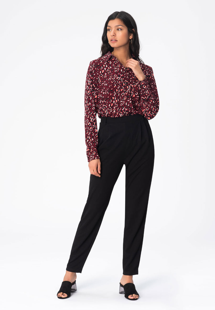 Jada Blouse in Bold Cheetah Cabernet