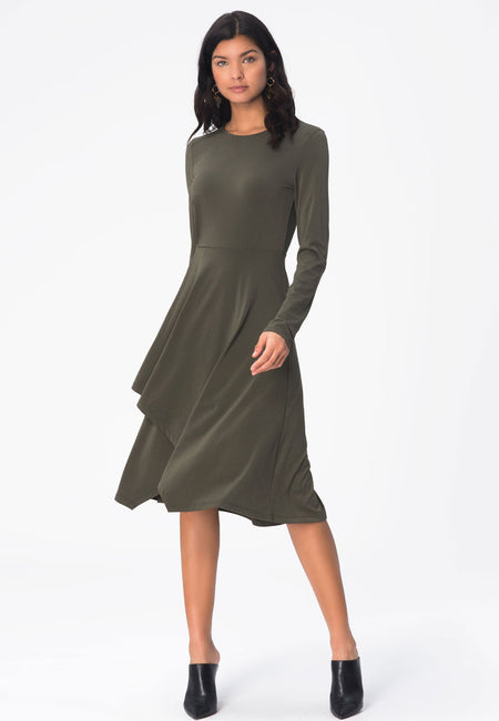 Gemma  A-Line Dress in Crepe Knit Peat Moss Green