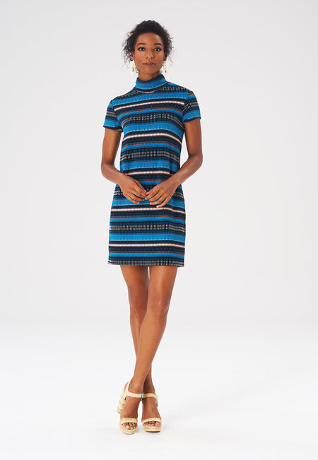 Leota Blaire Dress in Rib Stripe Crystal Teal