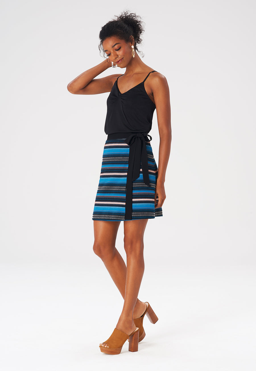 Leota Talia Skirt in Rib Stripe Crystal Teal