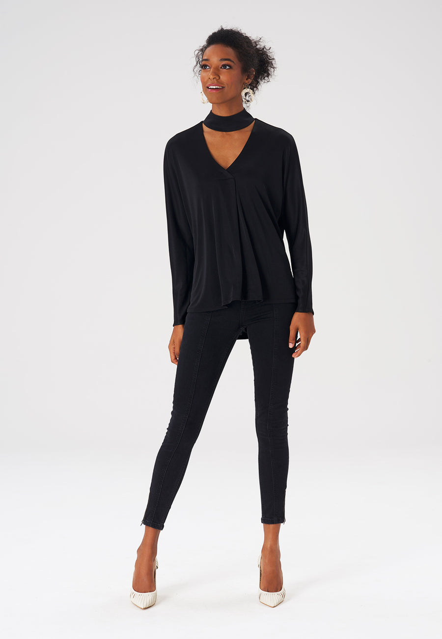 Leota Adrienne Tunic in Luxe Jersey Black