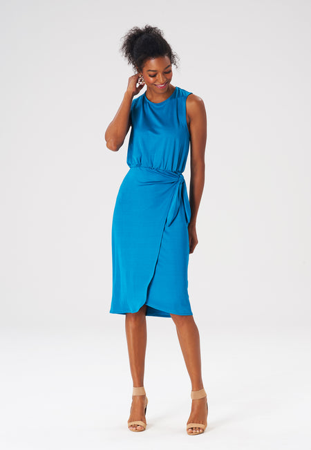 Leota Helene Dress in Luxe Jersey Crystal Teal