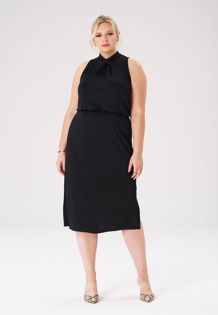 Victoria Dress in Luxe Jersey Black (Curve)