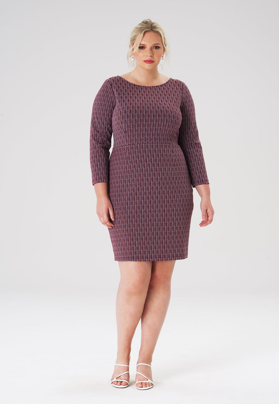 Shelly Dress in Fig Rose (Curve)