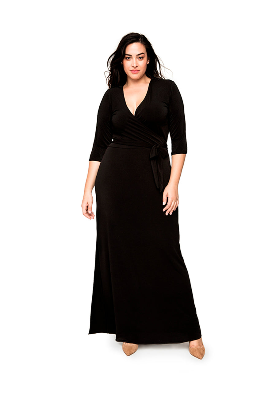Curve | Perfect Wrap Maxi Dress in Black Crepe – Leota