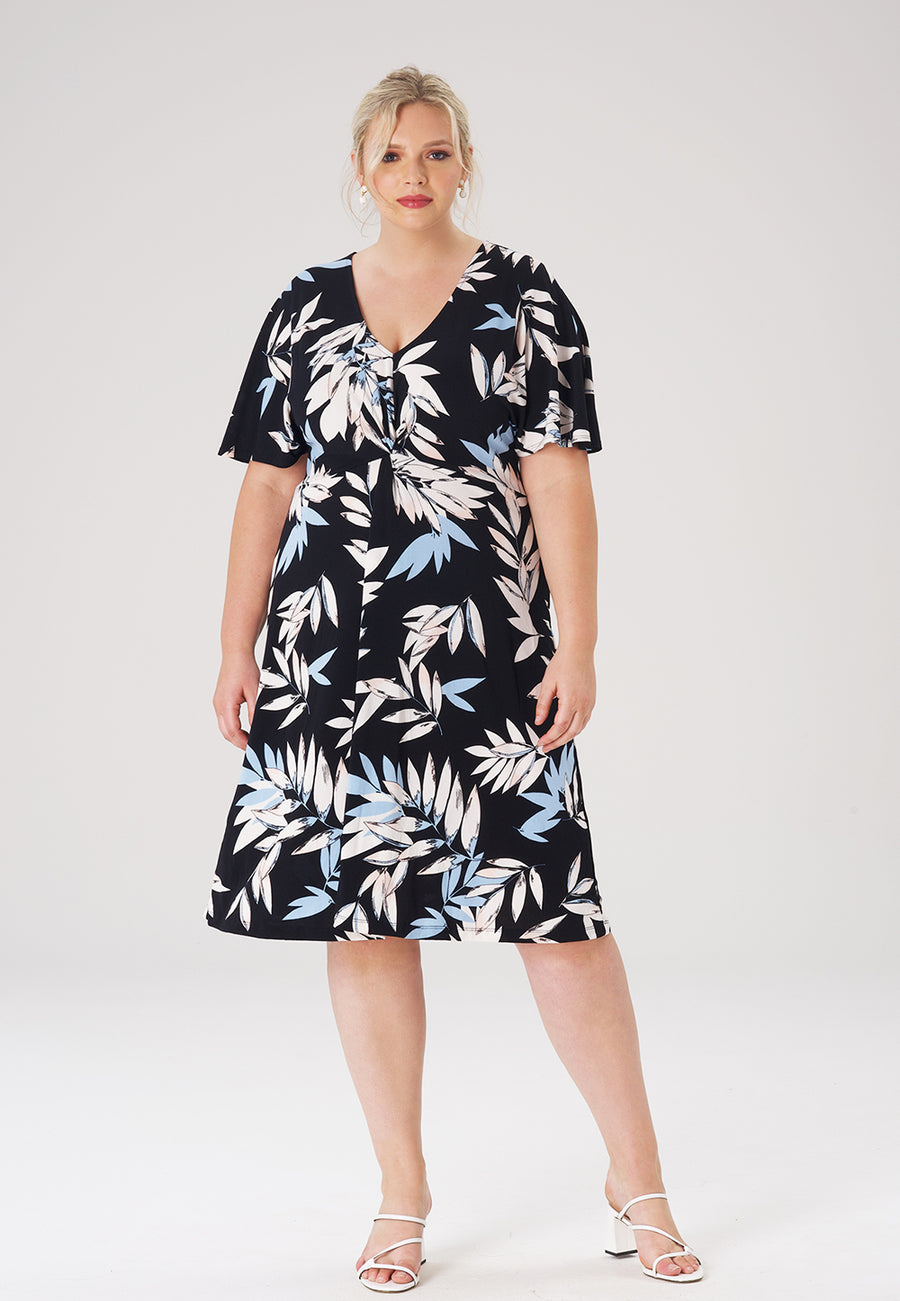Betty Dress in Pastel Leaves Navy (Curve)