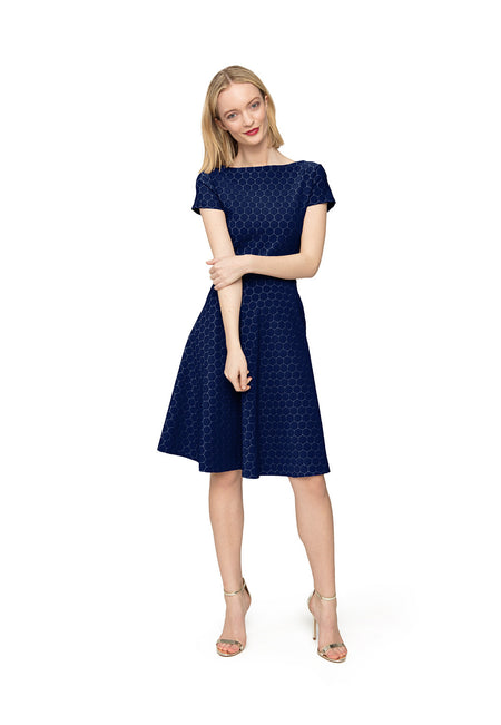 Cap Sleeve  A-Line Dress in Classic Navy Luxe Jacquard Blue