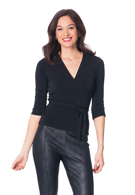 Perfect Wrap Top  in Black Essential Jersey