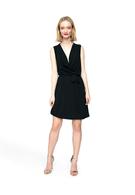 Lena Dress in Black Crepe
