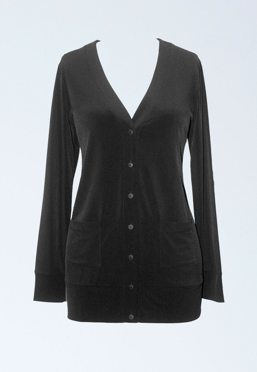 Essential Cardigan  Jacket in Black Jersey