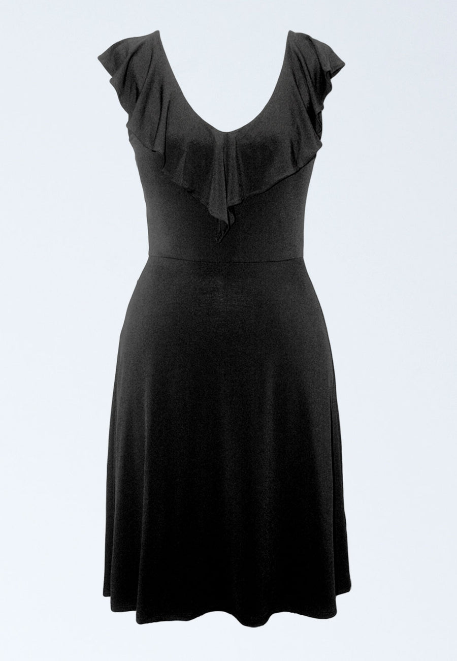 Chloe A-Line Dress in Black Essential Jersey