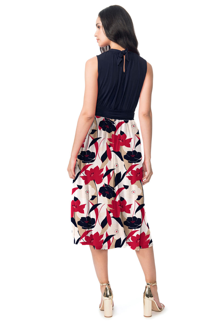 Mindy Shirred  Midi Dress in Nautique Floral Red