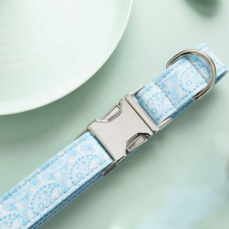 Blue Pattern Dog Collar & Bow-tie