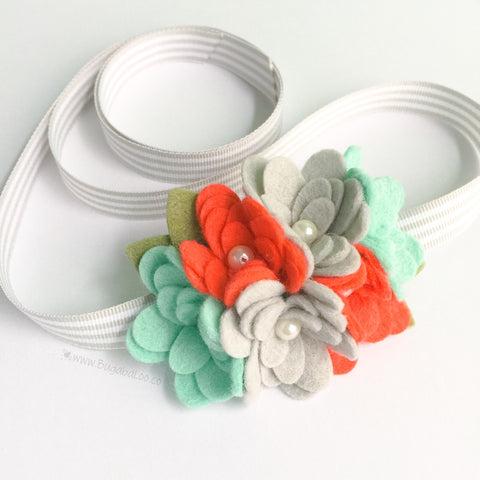 Felt Flower Headband - Coral and Mint Cluster Felt Flower Crown